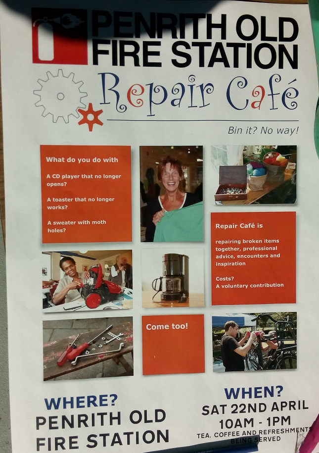 Eden Arts Repair Cafe is on 22nd April 2017