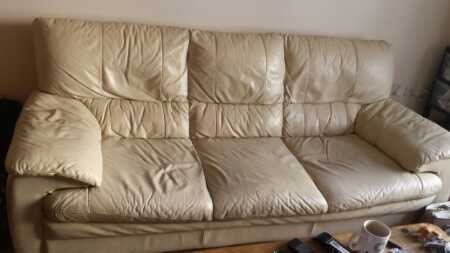 Cream leather sofa on OFFER on Freegle